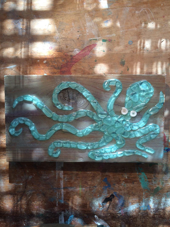 sea glass art octopus wall decor sea glass mosaic octopus baby