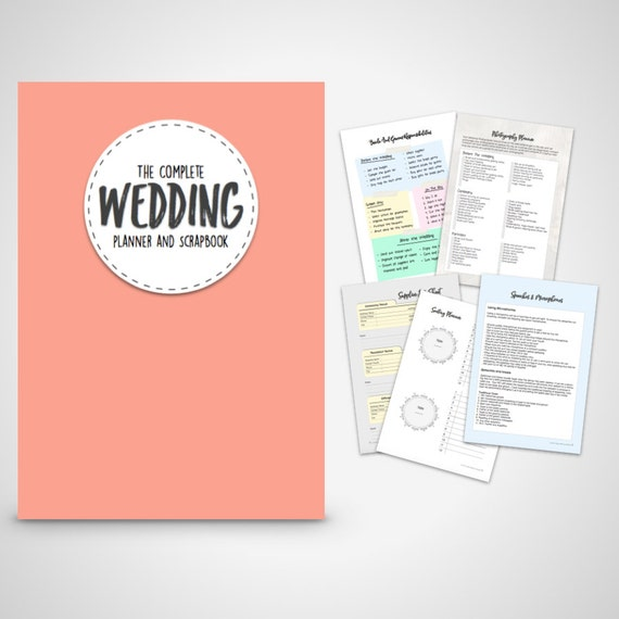 Wedding Planner Coral Printable Wedding Planner & Scrapbook