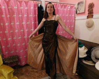 Rare Emma Domb liquid Copper  spectacular dress 1950