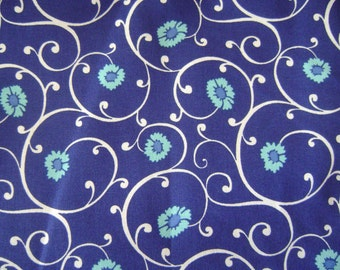 Swirls on Blue Sold by the Yard