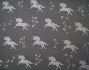Unicorn Gray Silver Metallic Cotton Fabric Sold by the yard