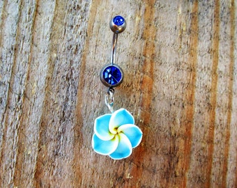 Blue Tropical Hawaiian Rose Blue Gem Silver Belly Button Ring Body Jewelry Navel Piercing