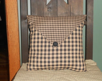 "Country Primitive Pillow Cover with envelope flap and covered button 12"" x 12"""