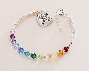 "LGBT Bracelet, Gay Pride Jewellery,  Inscribed ""Together we can make a difference""."