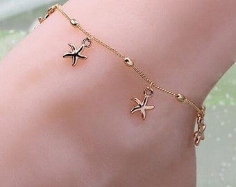 Gold Plated Multi Starfish Anklet