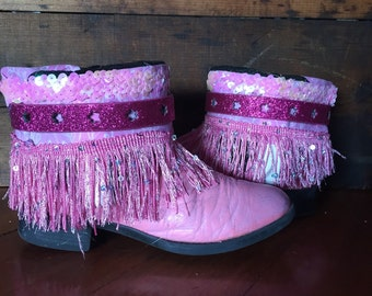 Pink upcycled western cowgirl boots size 12