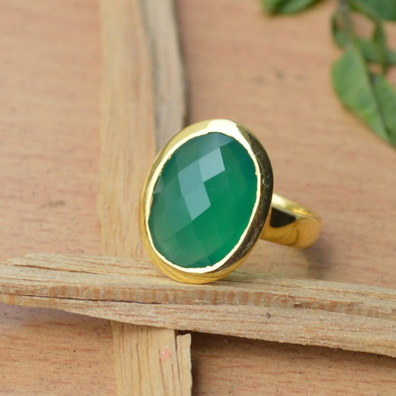 Green Onyx Silver Statement Ring, Oval Green Ring,Green Onyx Ring, Yellow Gold Overlay Bezel Set Ring,Birthstone Ring, Ring Size 8