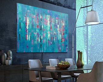 CUSTOM  Abstract painting Blue, pink, turquoise Abstract Original Modern Painting Large Size 195x114 cm / 76,7x44,8 inches