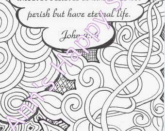 Bible Memory Verse Coloring Page John 316 ZentangleR Inspired Instant Download