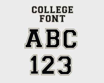 "College Outline Embroidery Machine Font, 1/2"", 3/4"", 1"", 2"", 3"" & 4"" sizes (upper case and numbers) - INSTANT DOWNLOAD - Item #1002"