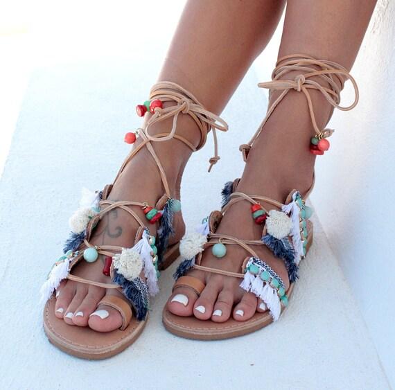 Tie Up Gladiator Sandals Greek Sandals Pom Pom By