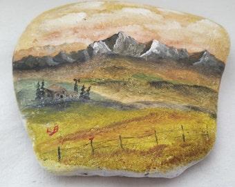 Garden Stone Mountain Farm Pasture Landscape Handpainted L.B. Loyd Bliss