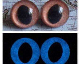 7.5mm Glow In The Dark Cat Eyes, Metallic Light Brown Safety Eyes With Blue Glow, 1 Pair Of Glow In The Dark Safety Eyes