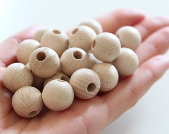 Wholesale 50 PC 15 mm beech wooden beads / wooden beads for jewelry craft projects