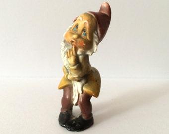 Vintage Gnome Figurine Plastic Collectible Ornament Hong Kong Dwarf Snow White Christmas