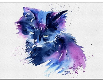 "Cat Print of ""Kitty"" 5"" x 7"" from original handmade watercolour. IKEA Ribba, ready to frame"