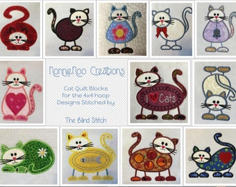 NNC Cat Quilt Blocks for the 4x4 (100x100) hoop in ALL popular formats