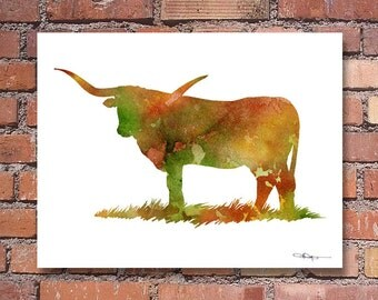 Longhorn Cow Print - Abstract Watercolor Painting - Wall Decor