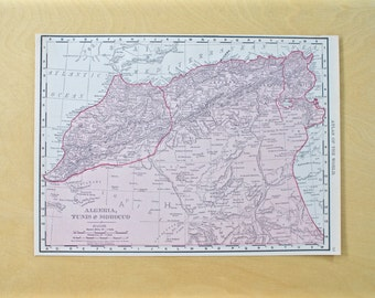 1913 - Algeria Map - Large Antique Map - Beautiful Old Map of Algeria - Large Vintage Map - Colorful Atlas Map - Gift - Home Decor