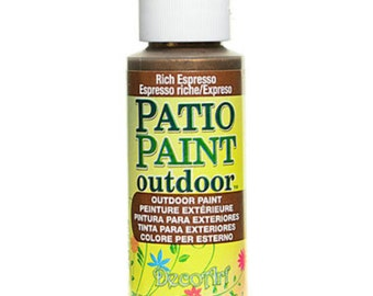 Patio Paint Outdoor, Rich Espresso Metallic, 2 oz bottle, Decoart