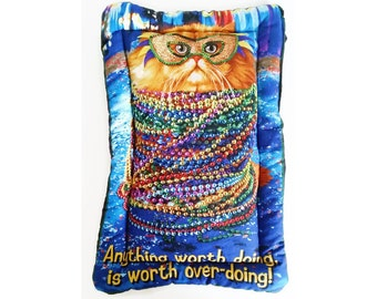 """Catnip or Valerian Cat Mat - """"Worth Overdoing"""" - Cat Pillow/Pad"""