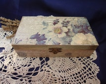 Wooden  decoupage handmade trinket jewelry keepsake box retro cottage shabby blue white spring flowers