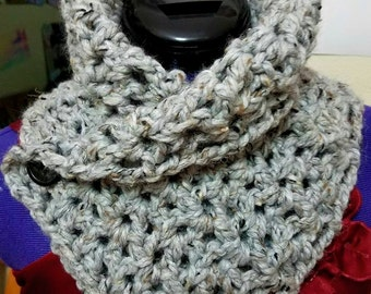 Grey Crochet Wrap Scarf with buttons