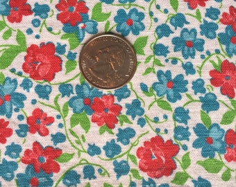 Vintage Full Feedsack White Background with Red and Blue Flowers and Green Leaves; Good condition