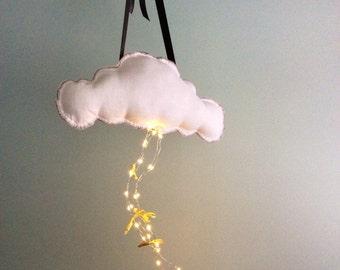 Cloud Mobile, Rain Cloud, Linen Cloud Mobile, Cloud Cushion, Rain Cloud Cloud Cushions - Remote Control LED Lights