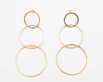 Hoop brass earrings, clip on hoop earrings, hoop earrings, brass earrings, brass jewelry, pendientes de aros de latón, pendientes de latón