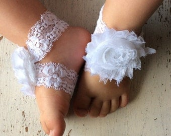 Barefoot sandals; baby barefoot sandals; white lace sandal; toddler barefoot sandal; sandal