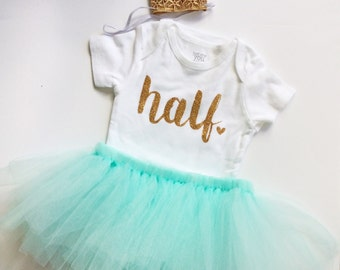 Mint girl half birthday outfit- mint - birthday outfit- birthday collection