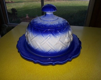 Vintage Blue and White Ceramic Cherry/Crosshatch Pattern Covered Dome Butter Dish