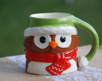 Owl mug with holiday soy candle in cinnamon stick or cinnamon vanilla scent