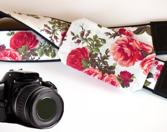 Camera strap with lens pocket. Red roses camera strap DSLR. Flowers Camera Strap. Photo Camera accessories. Gift for women by InTePro