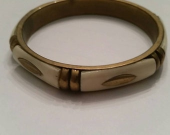 Vintage White  Brass Bangle Bracelet Boho Jewelry