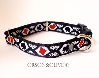 Las Vegas (Playing Cards Dice Gambling) Dog Collar  - Available in 3 sizes (S, M, L)