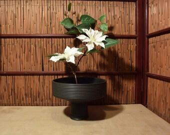 Japanese Black Pottery Flower Arrangement / Ikebana Vase / Vesel / Container