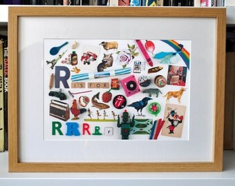 Limited Edition Alphabet Collage Print With Mount: R Is For...  Original, Vintage-Themed, Unframed