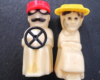 Driving Bakelite Couple Salt and Pepper Shakers