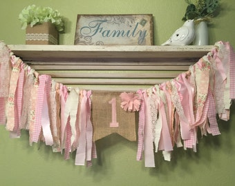 Rag Garland Banner Highchair Banner -  Pink Cream Lace Bunting Personalized - Wedding Shower Birthday Banner