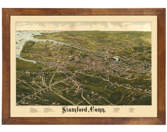 Stamford, CT 1883 Bird's Eye View; 24x36 Print from a Vintage Lithograph