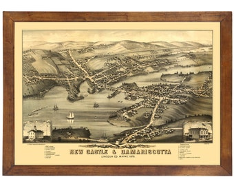 New Castle, ME 1878 Bird's Eye View; 24x36 Print from a Vintage Lithograph