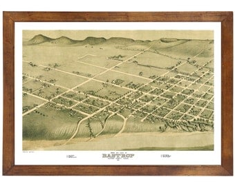 Bastrop, TX 1887 Bird's Eye View; 24x36 Print from a Vintage Lithograph