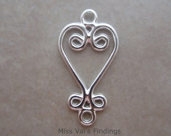 24 silver plated chandelier link connectors with heart design