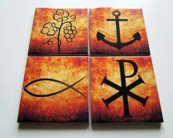 Christian gifts - set of four christian coasters - catholic coasters - religious coasters - handmade ceramic tiles - christian art symbols