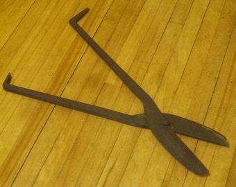 Antique Blacksmith Shears , Huge Tin Snips , Blacksmith Tools , !800's Hand Forged Tools