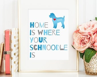 Schnoodle dog print, poodle and schnauzer mix dog print, personalized dog print schnoodle, dog wall art, gift for dog owners (digital jpg)
