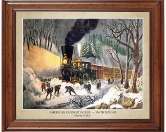 American Railroad Scene - Snow Bound - Lithograph by Currier and Ives (1871); 16x20 print