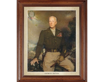 George S. Patton portrait; 16x20 print on premium heavy photo paper